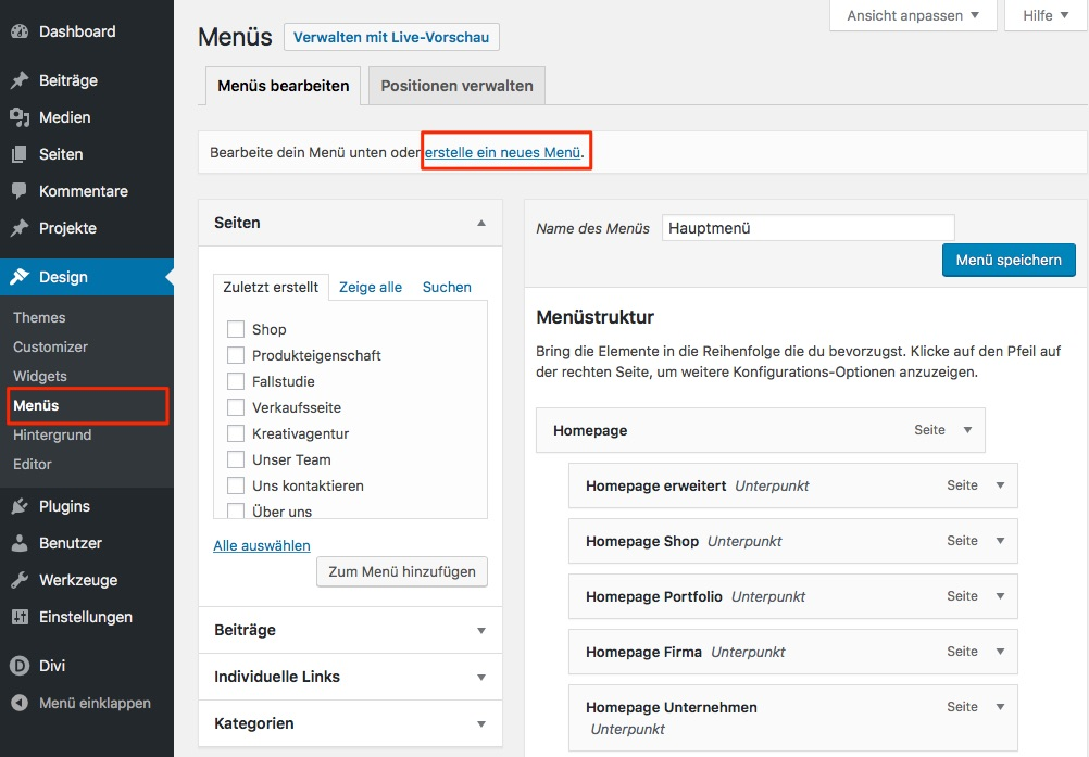 Wordpress: Menü anlegen
