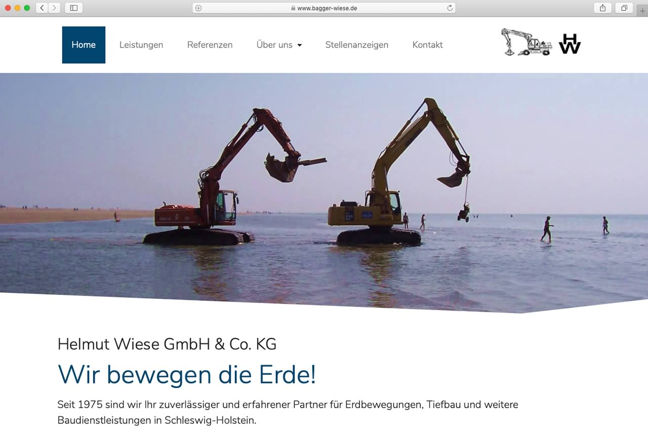 Webdesign mit WordPress: Bagger Wiese